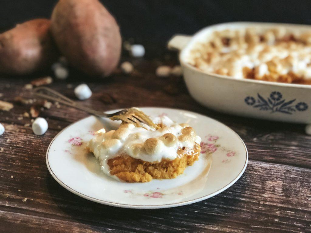 Sweet Potato Casserole on a dish