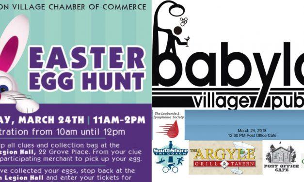 Babylon Village Egg Hunt and Pub Crawl Both On March 24th